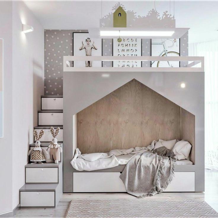 Kinderzimmer moderne graue weiße Bettkabine moderne Treppe mit Lagerung #inspirationchambre