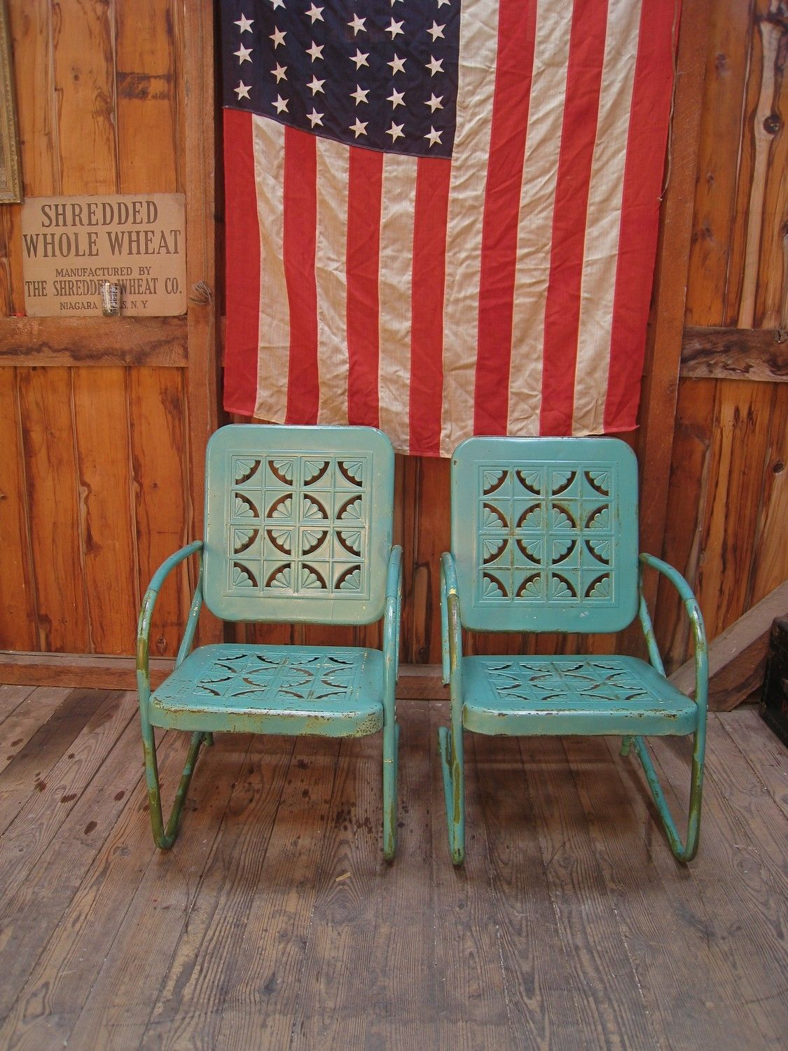 Vintage Heavy Metal Outdoor Chairs 1950s