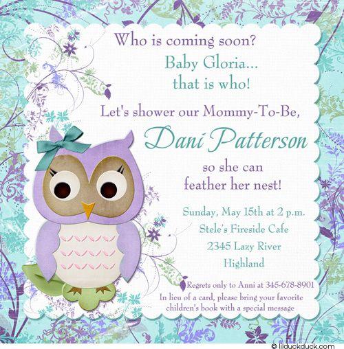 Baby Shower Girl Songs ~ Meadow owl baby shower invitation veggie tales