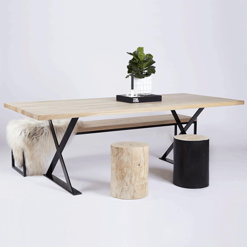 Designer Alexandria Black Steel Industrial Dining Table  Oak Timber Top