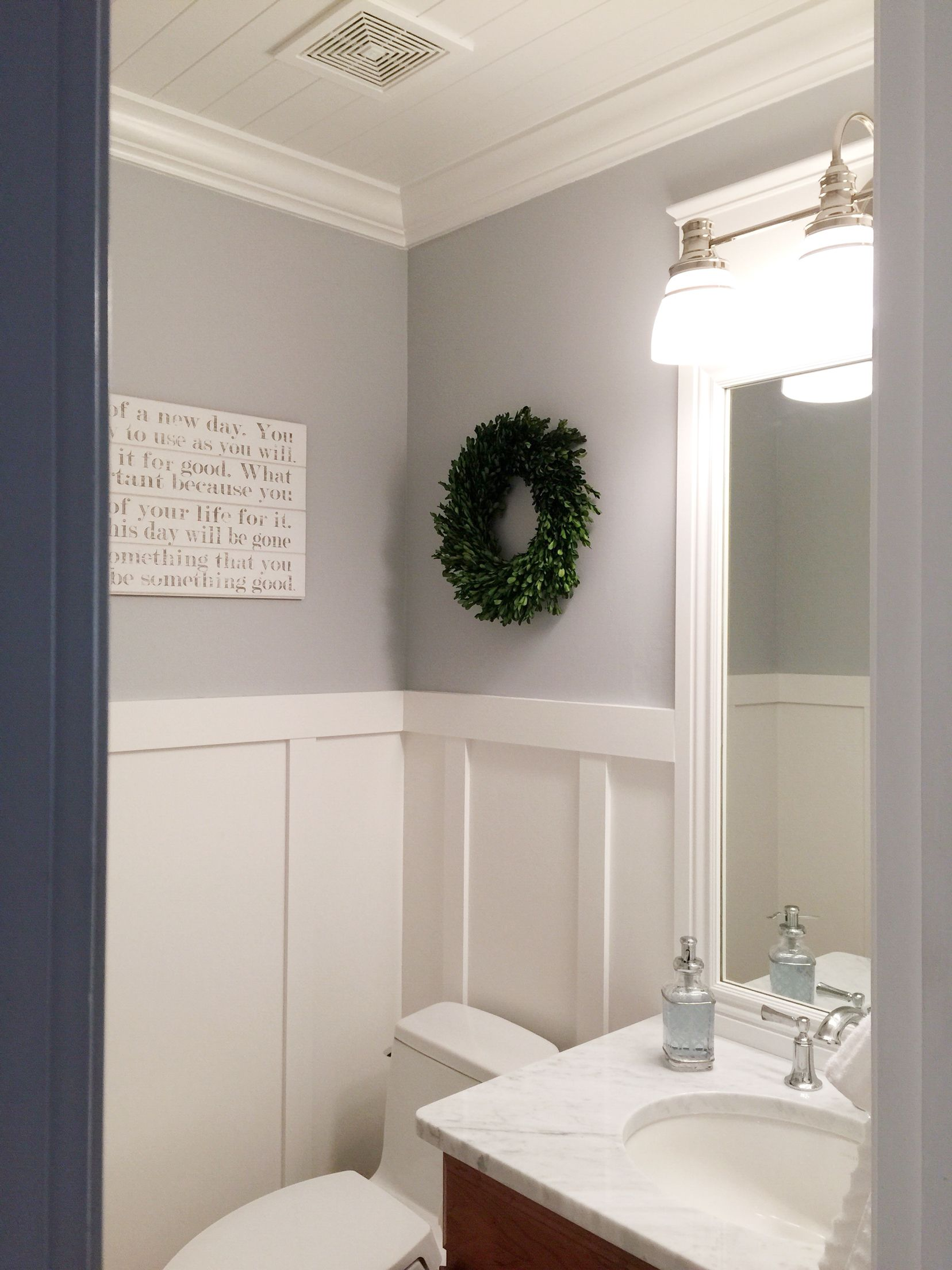 Finally Finished The Powder Bathroom Loving The Ship Lap Ceiling Board And Batten And Of Cours White Marble Bathrooms Mold In Bathroom Marble Bathroom Floor