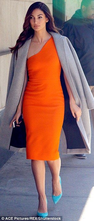 Twice as nice: Lily Aldridge showed off two different outfits in one day on Wednesday in N...