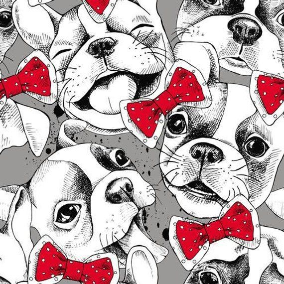 Happy Christmas Bulldogs Puppies Printed Velvet By The Metre