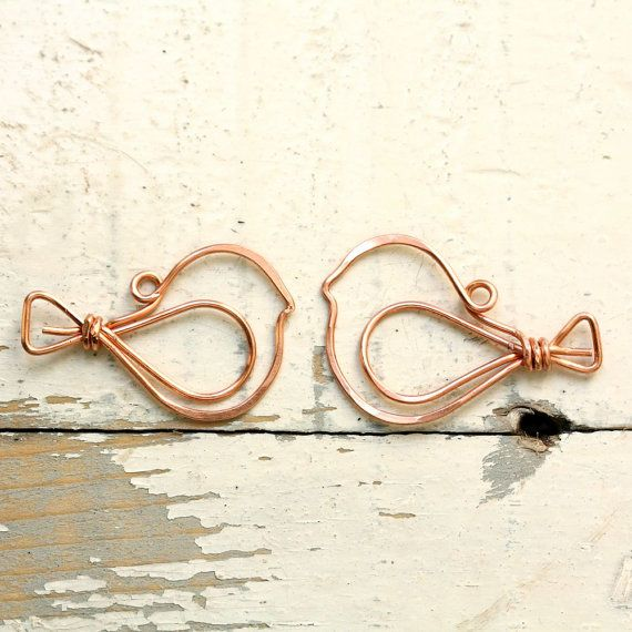 2 Wire Birds Solid Copper - Handmade Wirework Connector, Charm, or ...