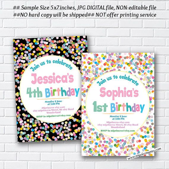 Rainbow confetti birthday invitation for any age 1st 2nd 3rd 4th 5th rainbow confetti birthday invitation for any age 1st 2nd 3rd 4th 5th 6th 7th kids party invite card 994 filmwisefo