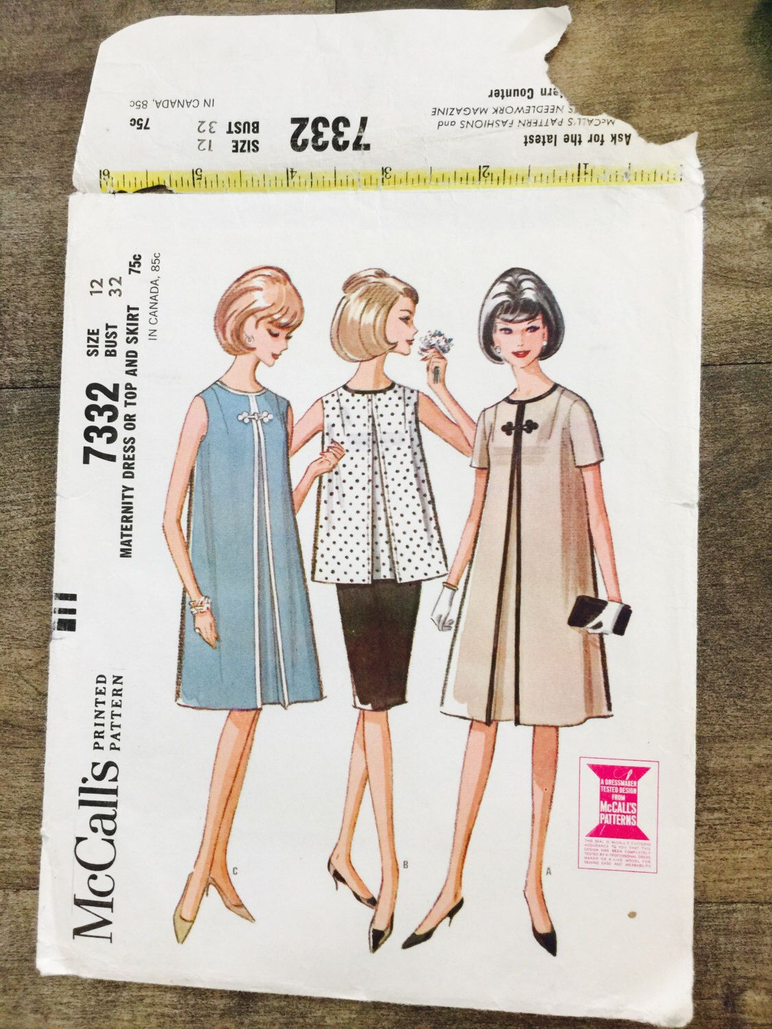 Vintage 60s maternity dress or top and skirt sewing pattern vintage 60s maternity dress or top and skirt sewing pattern mccalls 7332 size 12 bust 32 ombrellifo Gallery