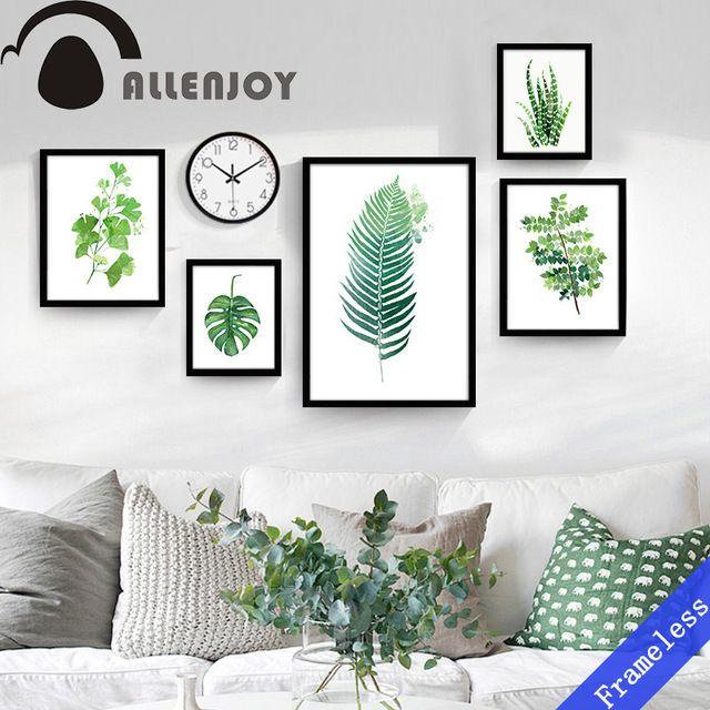 Nordique Plante Verte feuille mur rural Affiche peinture Toile Art - peinture blanche pour mur
