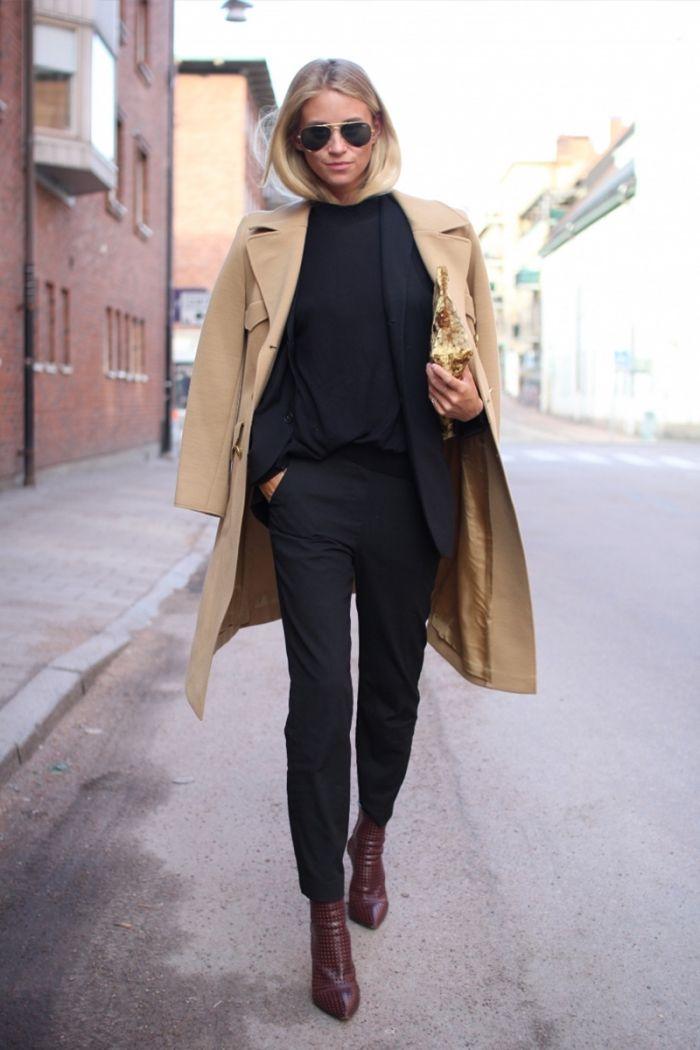 Manteau droit long camel