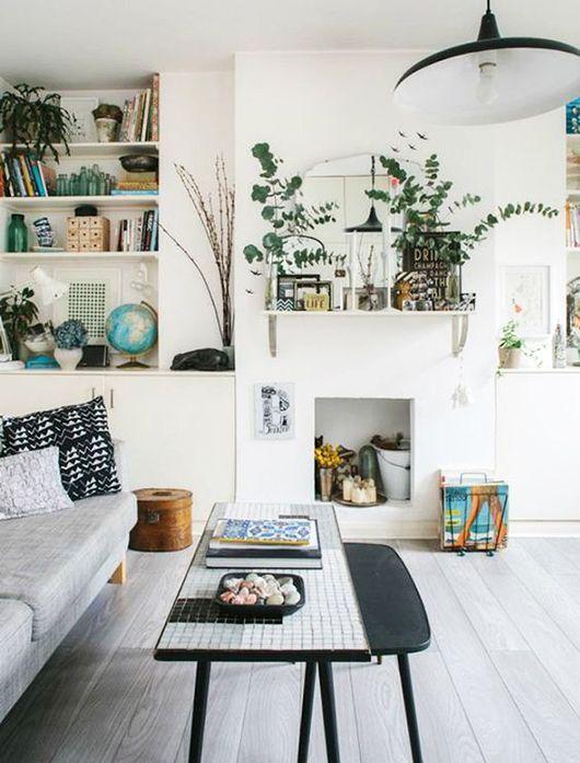 Modern Living Room Plants eucalyptus | midcentury minimalism | plant filled white living