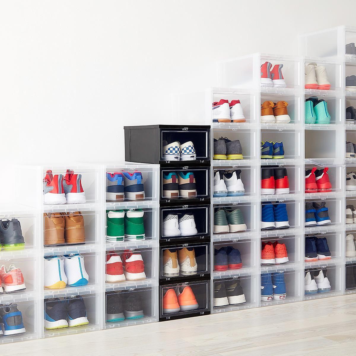 Large Black Drop Front Shoe Box Drop Front Shoe Box Garage Storage Bins Garage Storage