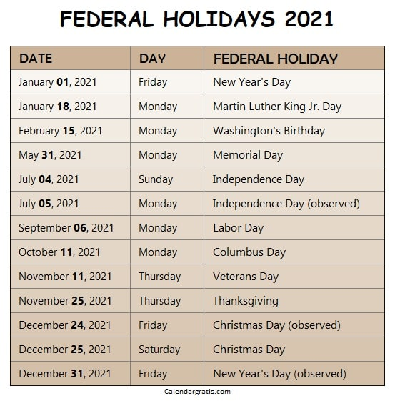 Calendar 2021 Holidays List List of US Federal Holidays 2021. United States of America