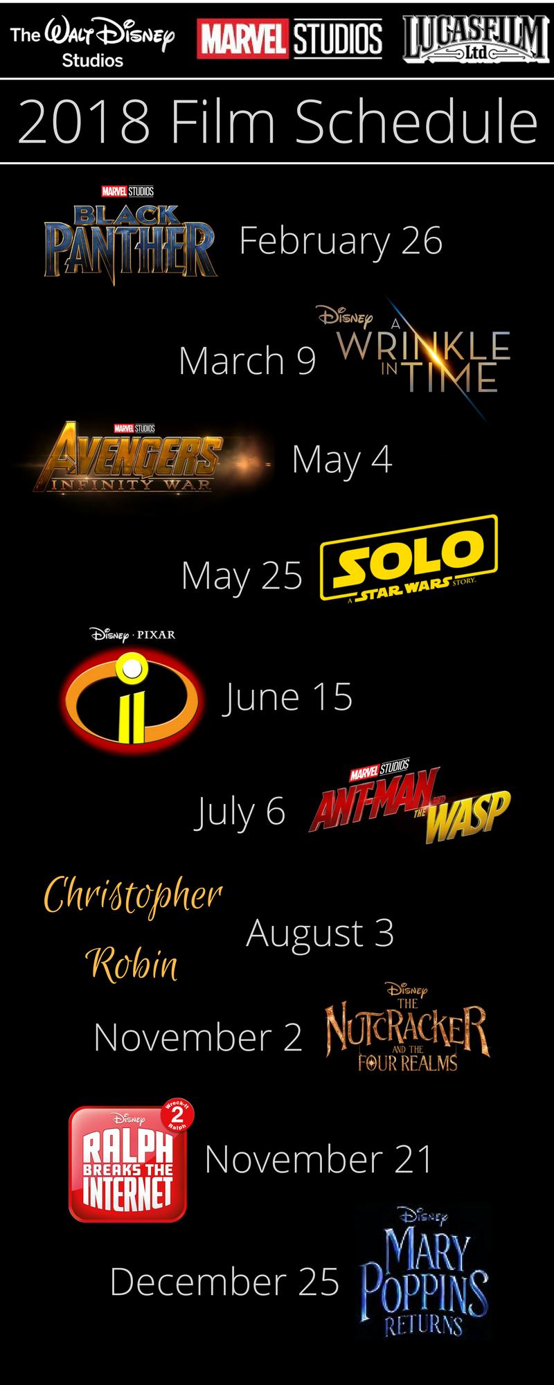 Get The Full Film Schedule Of Films Coming From Walt Disney Studios Marvel Studios And Lucasfilm In 2018 Disney Studios Walt Disney Studios Walt Disney