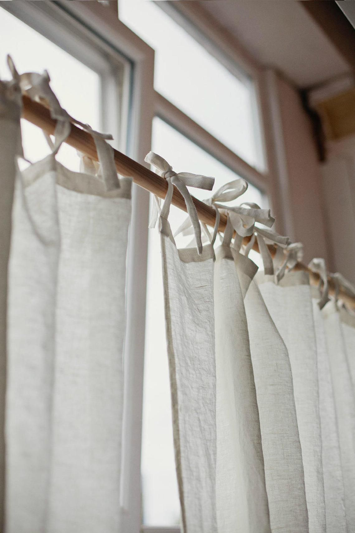 Tie Top Linen Curtain Panel Various Colours Semi Sheer Window Shower Or Door Curtain Custom Rod Drapes With Ties Linen Curtain Panels Curtains Diy Closet Doors