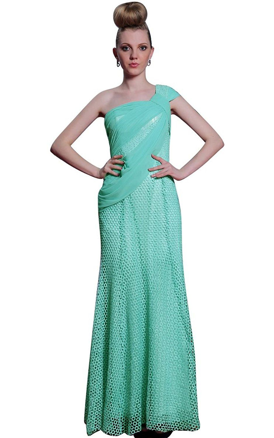 Beautyemily one shoulder pleated long formal evening bridesmaid