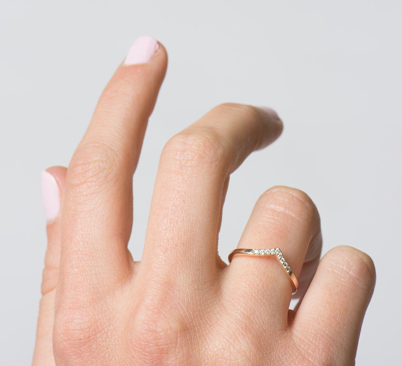 Chevron Ring 14K Rose Gold Diamonds V Shaped Thin Diamond