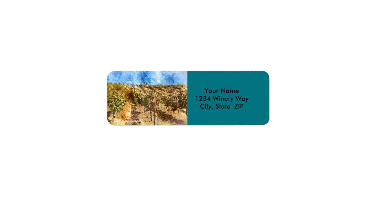 Vineyard in Napa Valley California Label Return, Shipping label - shipping label