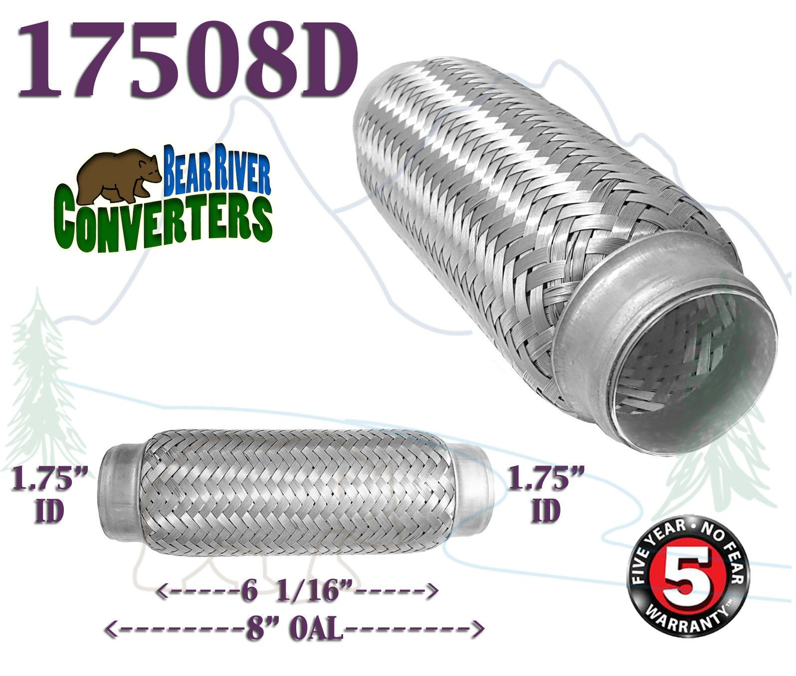 """1.75/"""" x 4/"""" Exhaust Flex Pipe Tube Stainless Steel Triple Ply 1 3//4/"""""""