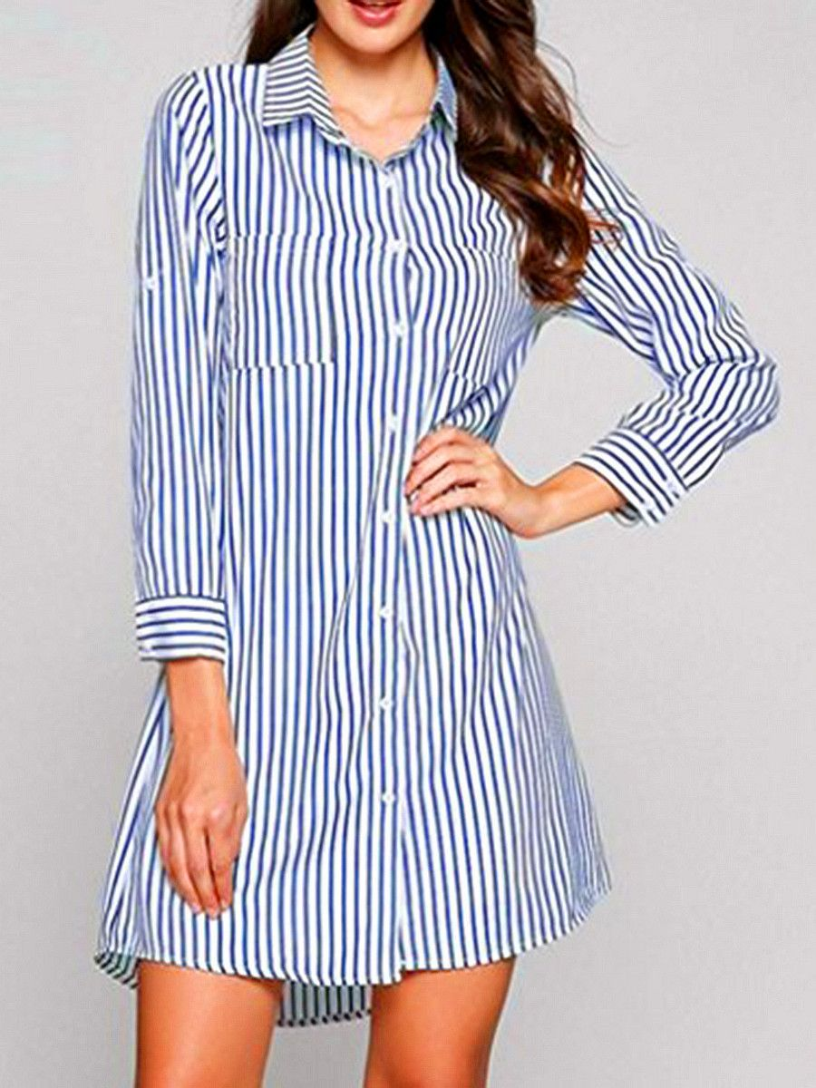 dd1e587f7e Turn Down Collar Striped Shift  Dress  shirtdress  shiftdress