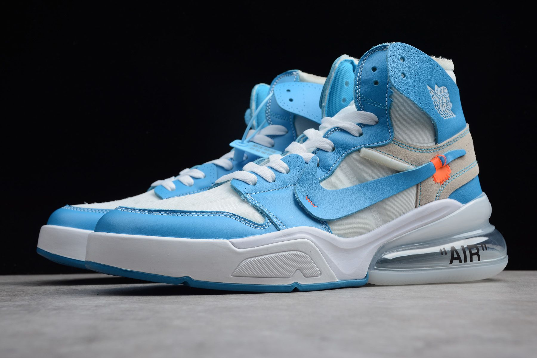 "b15ef6a972976 Off-White x Nike Air Force 270 x Air Jordan 1 High ""UNC"" White Dark Powder  Blue-Cone"