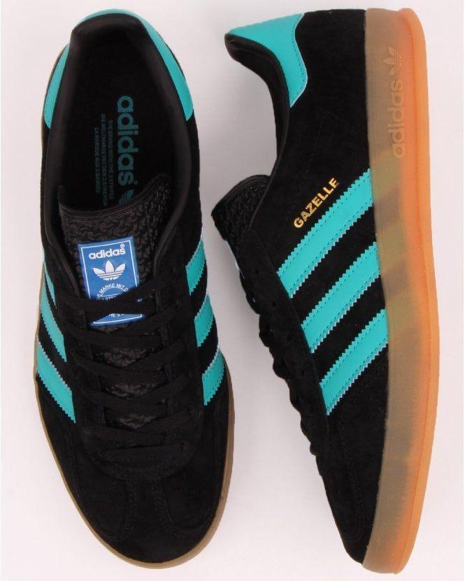 Zapatillas Adidas Gazelle Indoor Negras / Aqua | Adidas gazelle ...