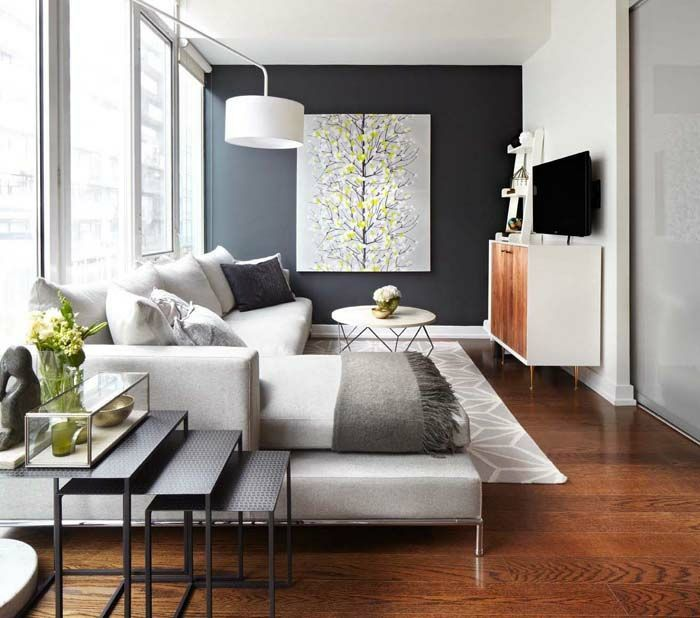 kleines wohnzimmer einrichten akzentwand wohnmbel retro stil - Einrichten Wohnzimmer