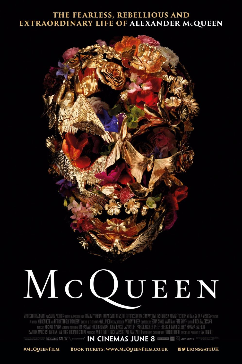 "Vanitas Skull by Gary James McQueen poster for the 2018 McQueen documentary - ""The fearless, rebellious and extraordinary life of Alexander McQueen"""