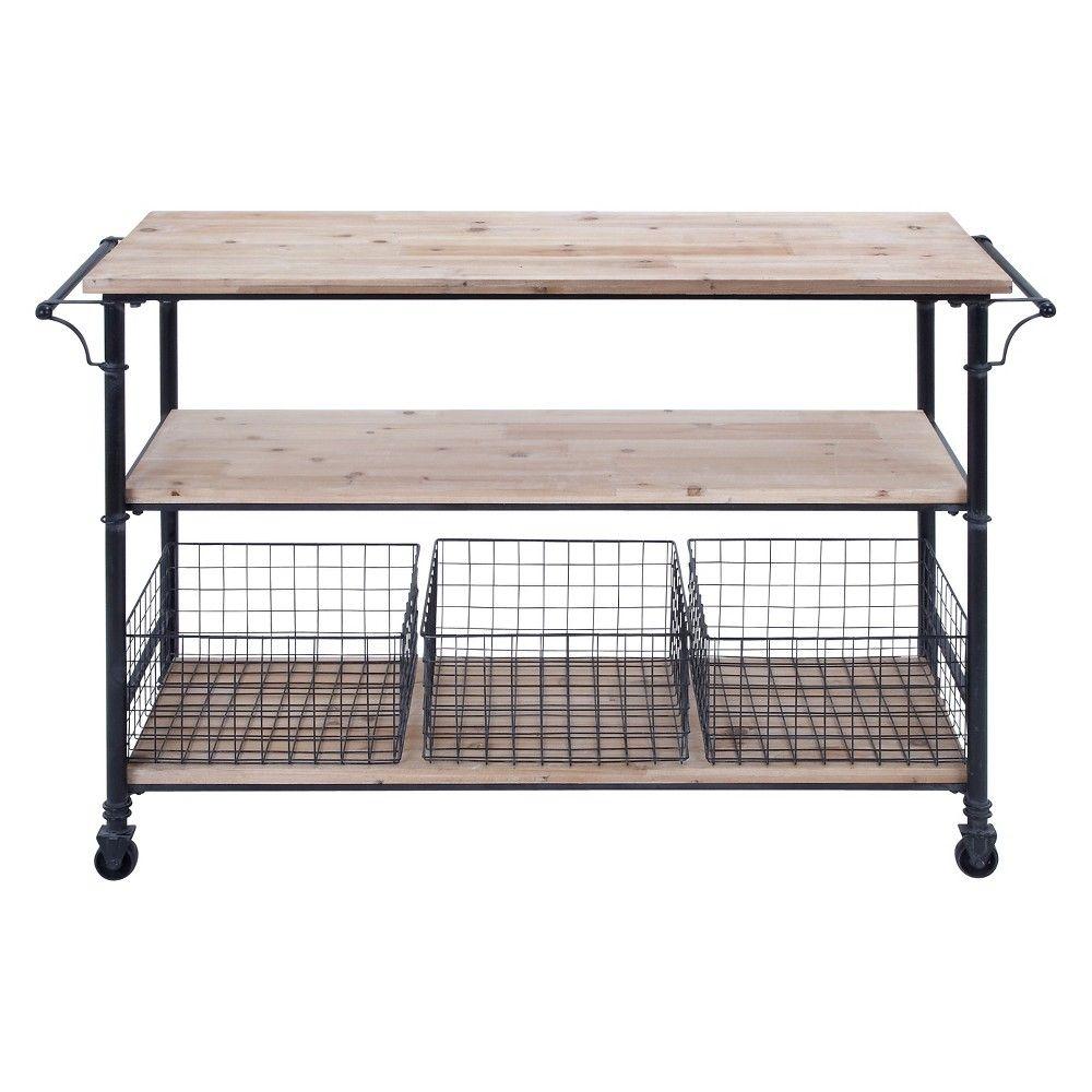 Metal and wood rolling utility cart brown olivia u may shelves
