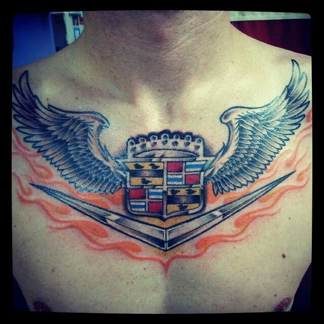 The Cadillac With Wings Chest Tat The Cadillac Pinterest