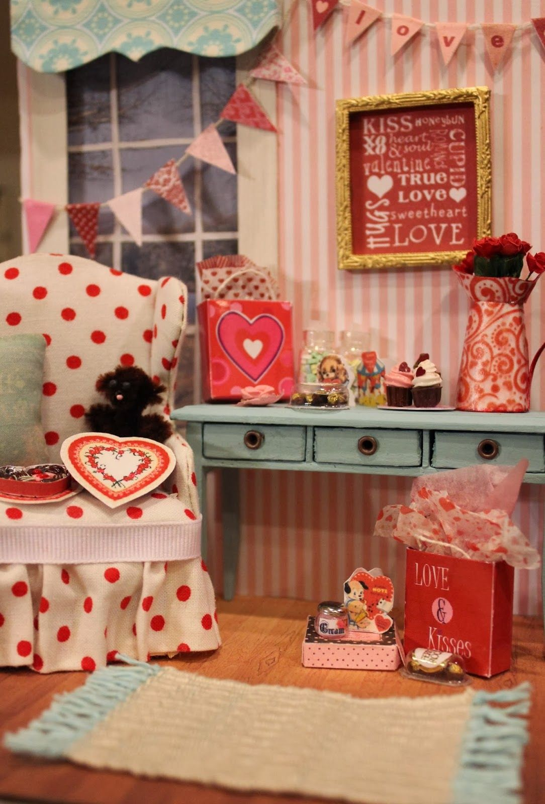 Miniature Dollhouse Valentine Card and Red Rose