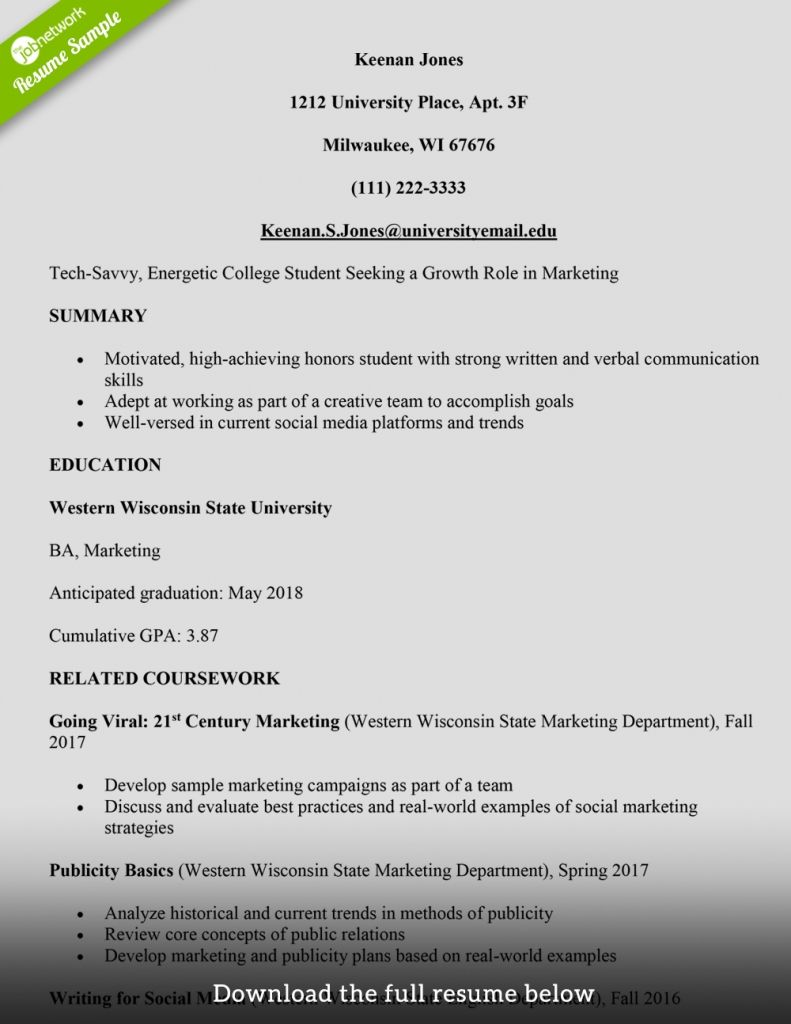 Resume Example College Student in order to my