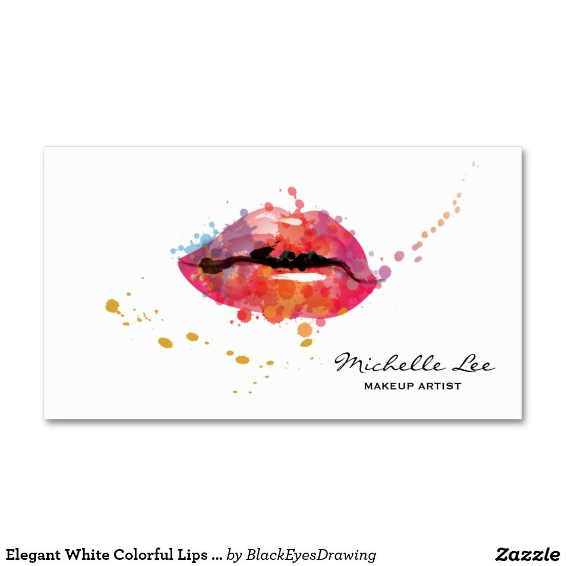 Elegant White Colorful Lips Makeup Artist Business Card Maquilleuse Professionnelle Salon Esthtique Carte De Visiter