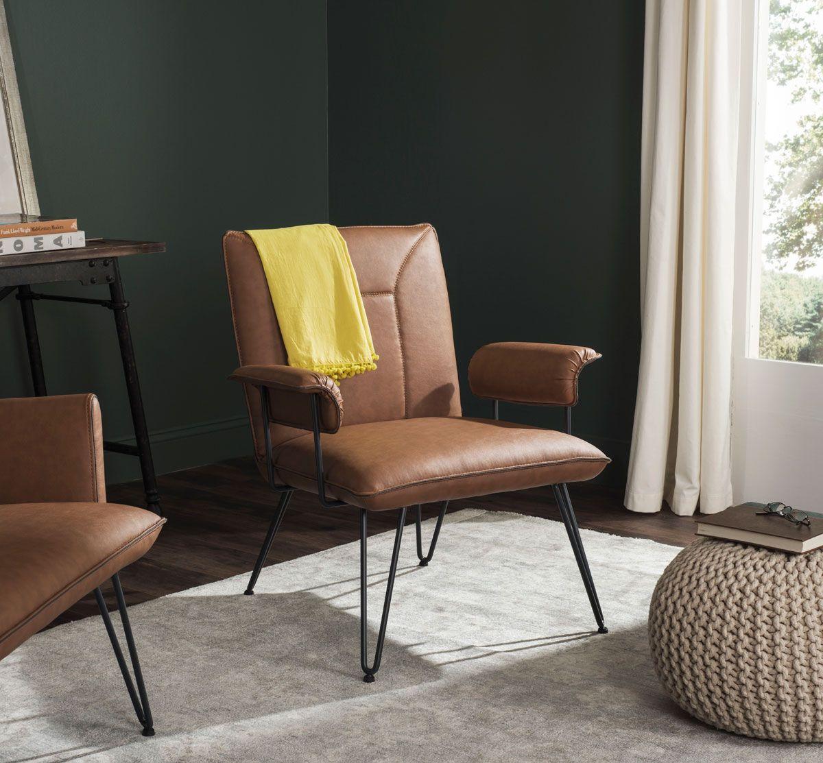Safvaieh S Johannes Retro Mid Century Leather Arm Chair Sku Fox1700c Color Camel