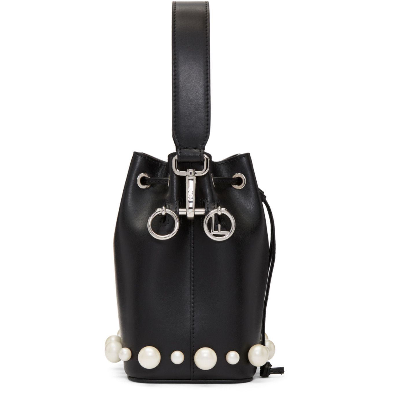 24df66afae88 Fendi - Black Mini Mon Tresor Pearls Bucket Bag