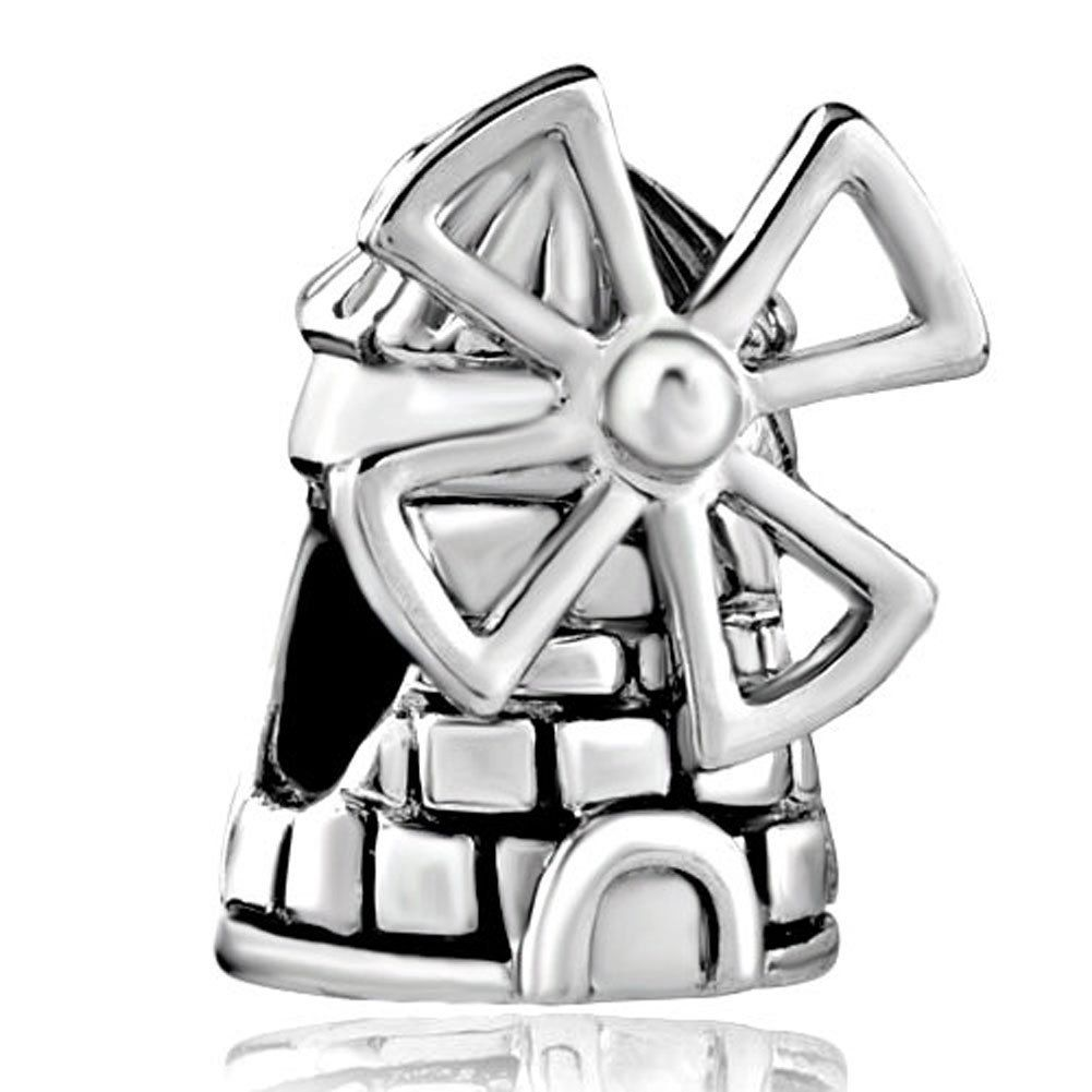 Sale Cheap New Jewelry House Dutch Windmill Charms European Beads Fit Pandora  Charm Bracelet Gifts