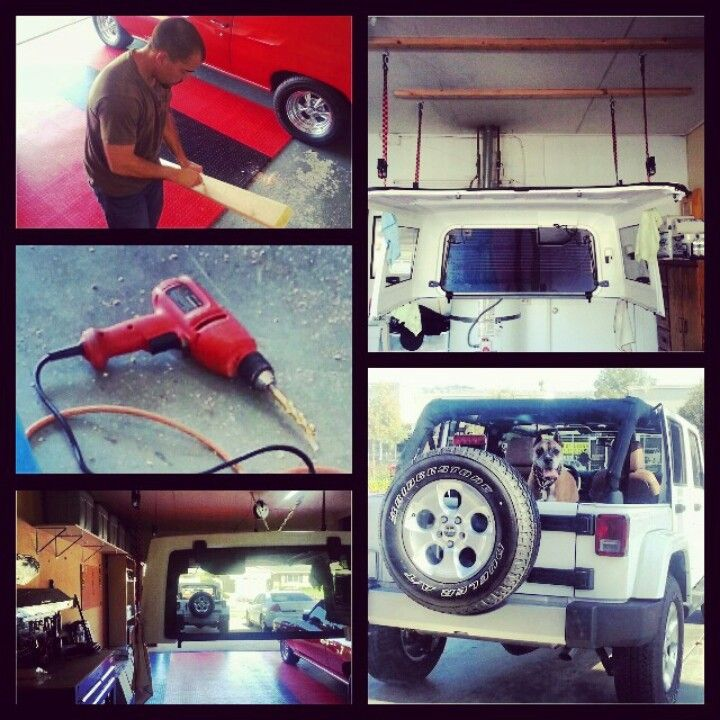 Homemade Hoist For A Jeep Hardtop 2 2x4s 4 6 1 2 Bolts And 4 Ratcheting Tie Downs Jeep Life Jeep Wrangler Jeep