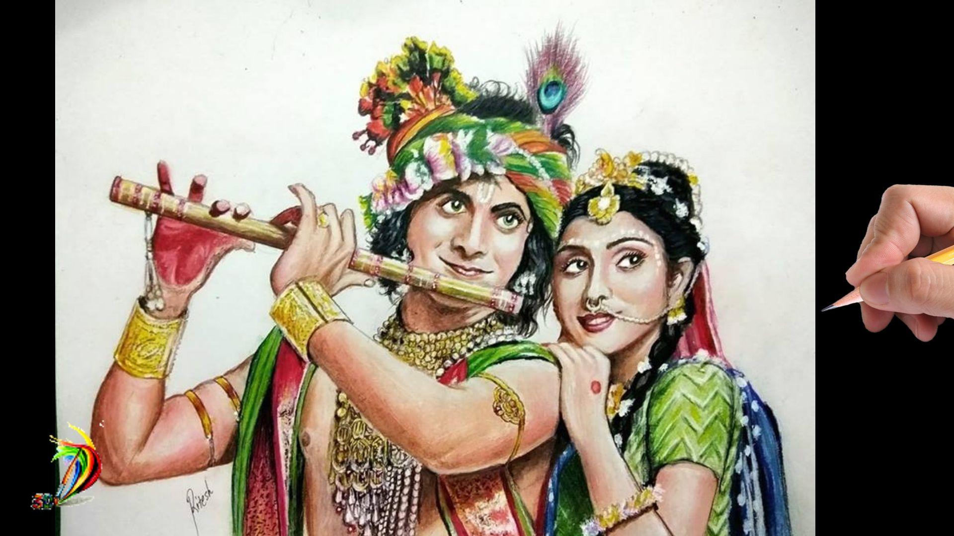 Realistic drawing of Radha Krishna of Star Bharat TV serial