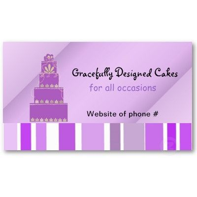 Purple Designer Cake And Stripes Business Card