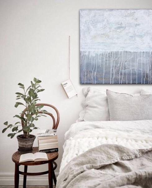 Große abstrakte Textur-Malerei auf Leinwand, Original grau, Beige - wohnzimmer esszimmer grau beige