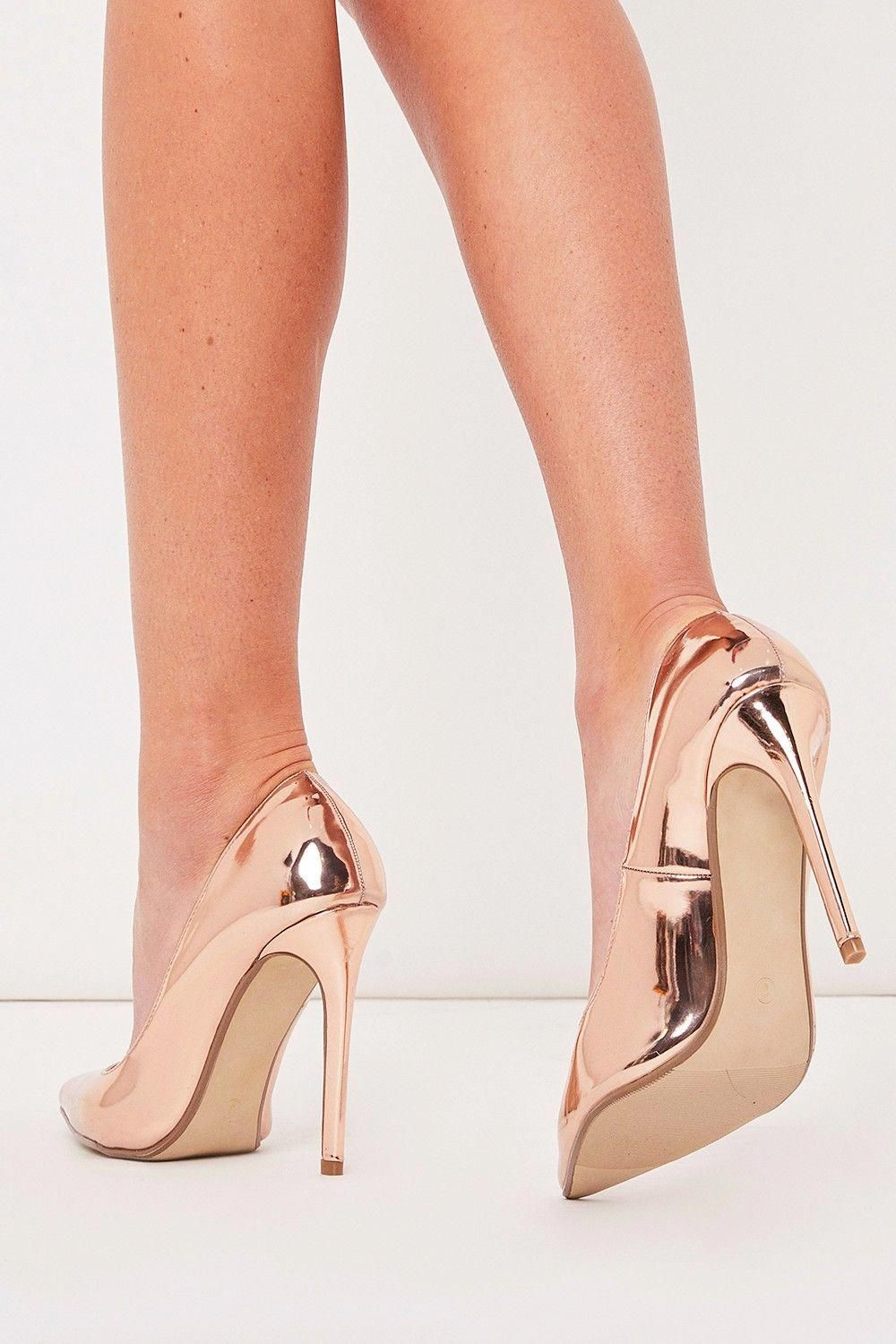 c00058b0424 Faye Rose Gold Metallic Court Shoe Heels  Promheels