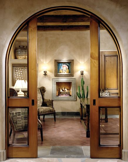 Arched pocket door spanish style home pinterest wood - Arched interior doors with glass ...