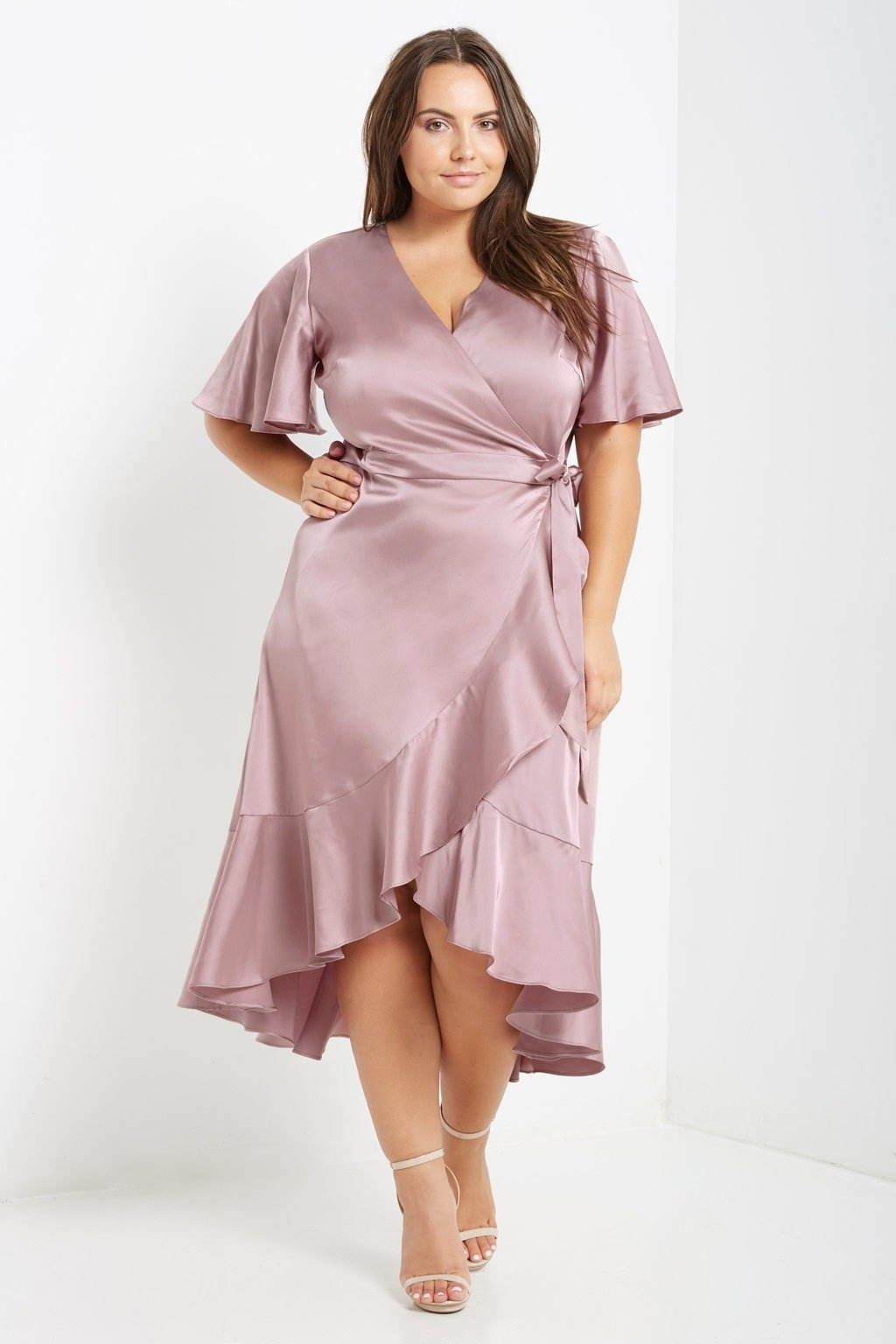 Dusty Pink Satin Wrap Midi Dress Plus Size in 2020 | Midi ...