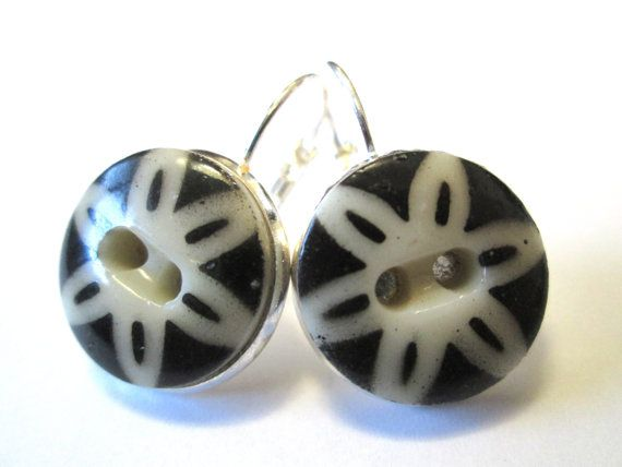 Antique button earrings. 1800s china stencil buttons, silver leverbacks