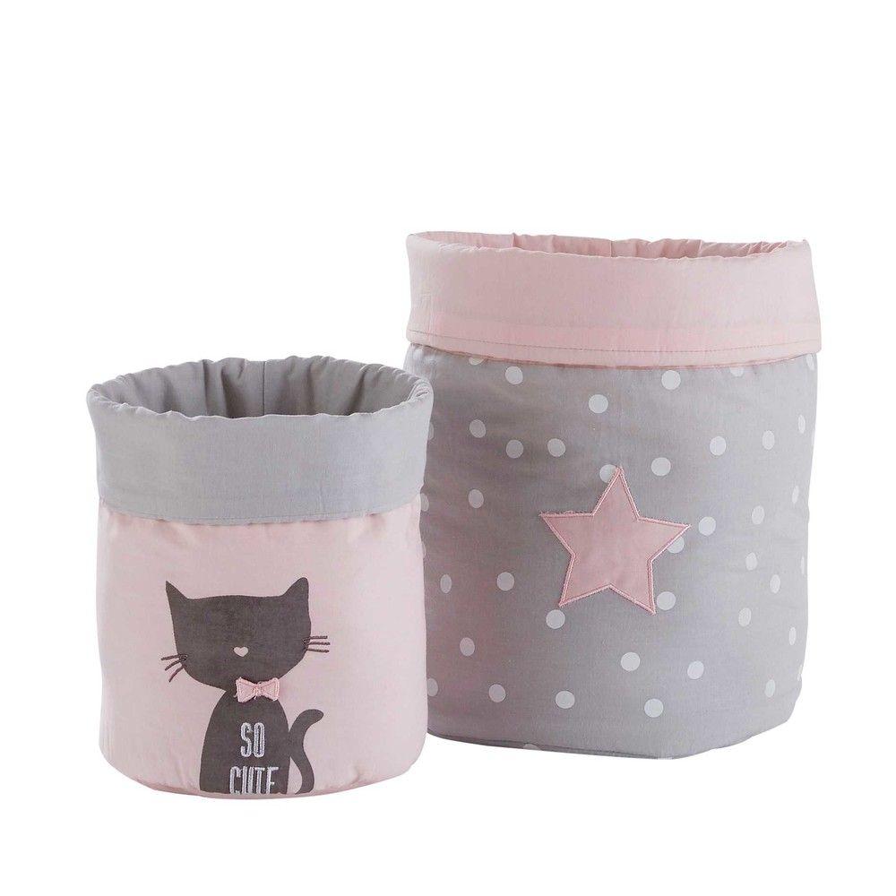 2 aufbewahrungskörbe aus grau-rosa baumwolle | storage baskets