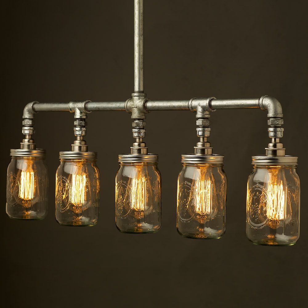 Edison Bulb Chandelier Mason Jar Lighting Mason By: Vintage Galvanised Plumbing Pipe Widemouth Jar Chandelier