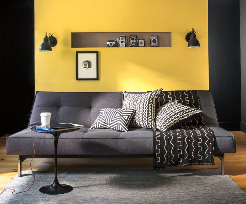 Aura Color Stories | Pinterest | Yellow accent walls, Grey couches ...