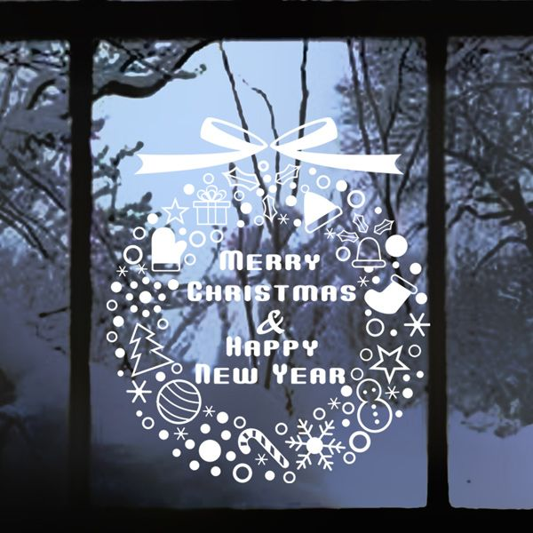 Get in the festive spirit with this merry christmas happy new year window sticker ideal for homes and retail shops