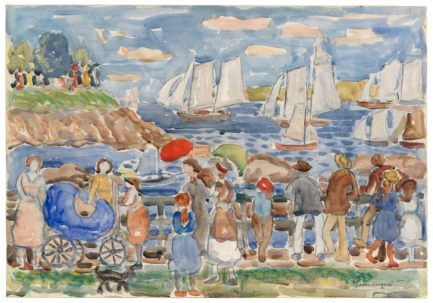 """""""Yacht Race"""" by Maurice Brazil Prendergast ca. 1920-1923 at Williams College Museum of Art"""