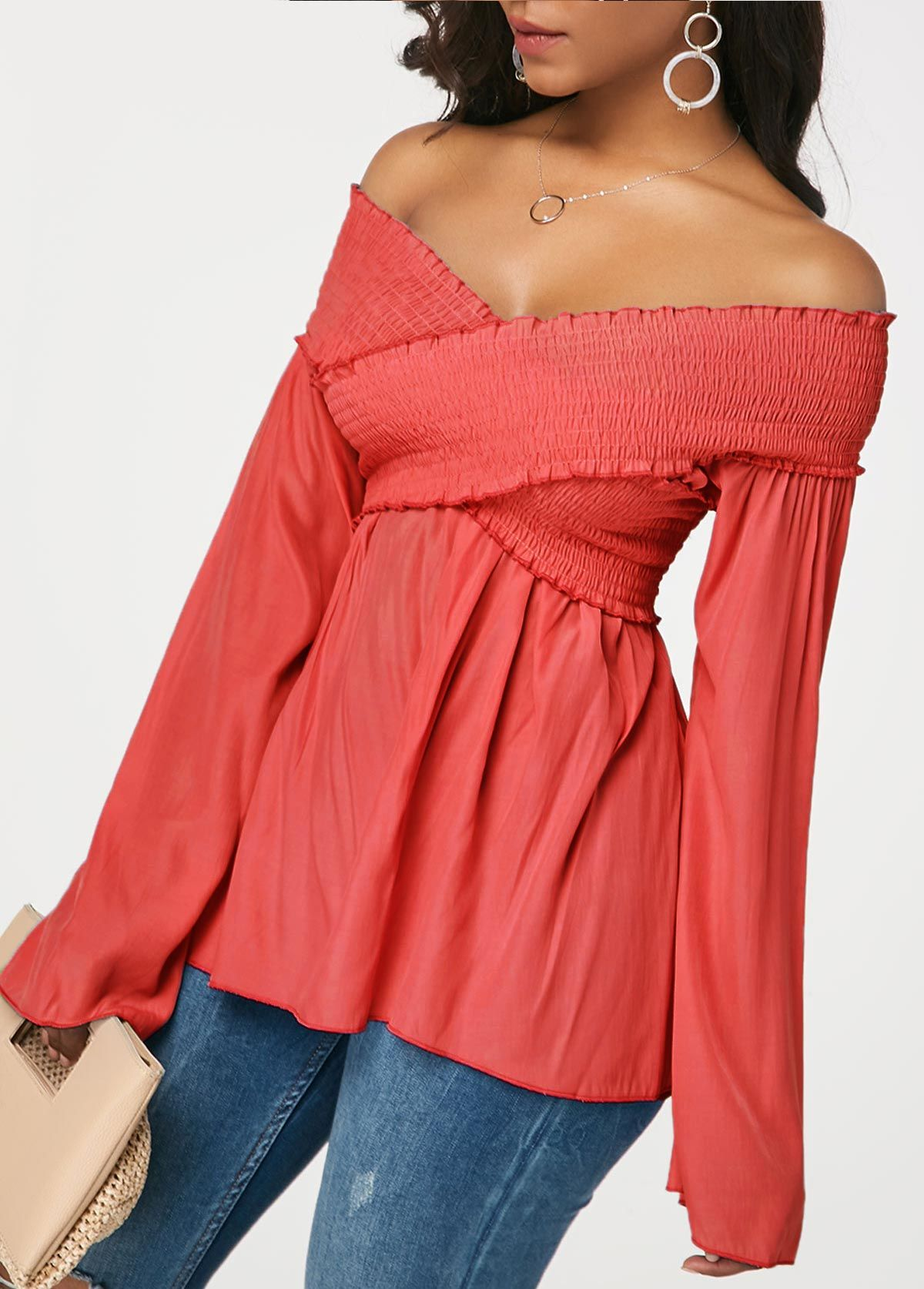 Crossover Shirred Peach Red Flare Sleeve Blouse Rosewe Com Usd 26 83 Fashion Ladies Tops Fashion Cute Blouses