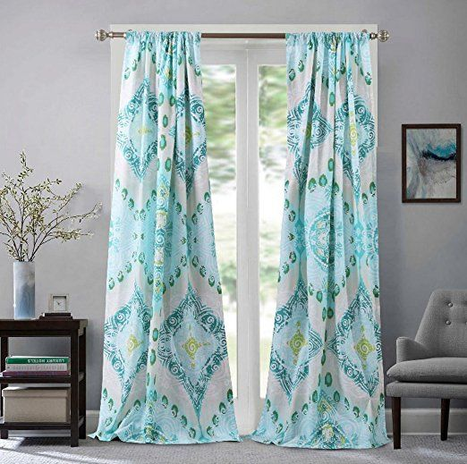 Window Treatments Tab Top Curtains Panels Lined Beach Coastal Cottage Medallion Mandala Geometric Design Aqua Blue Green Panel Curtains Curtains Green Curtains
