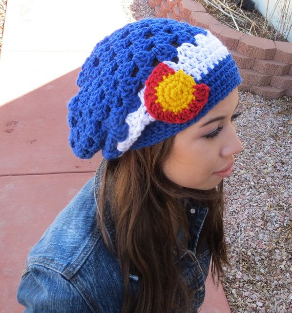 Colorado Flag Slouchy Hat Spring Crochet Hat by Gettinghooked ...